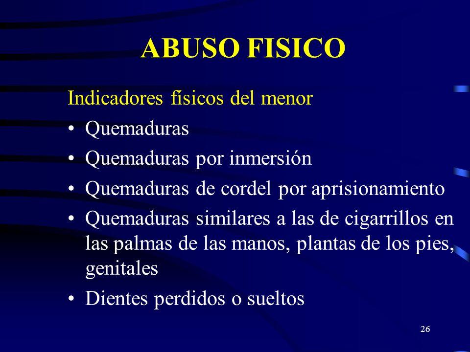 ABUSO FISICO Indicadores físicos del menor Quemaduras