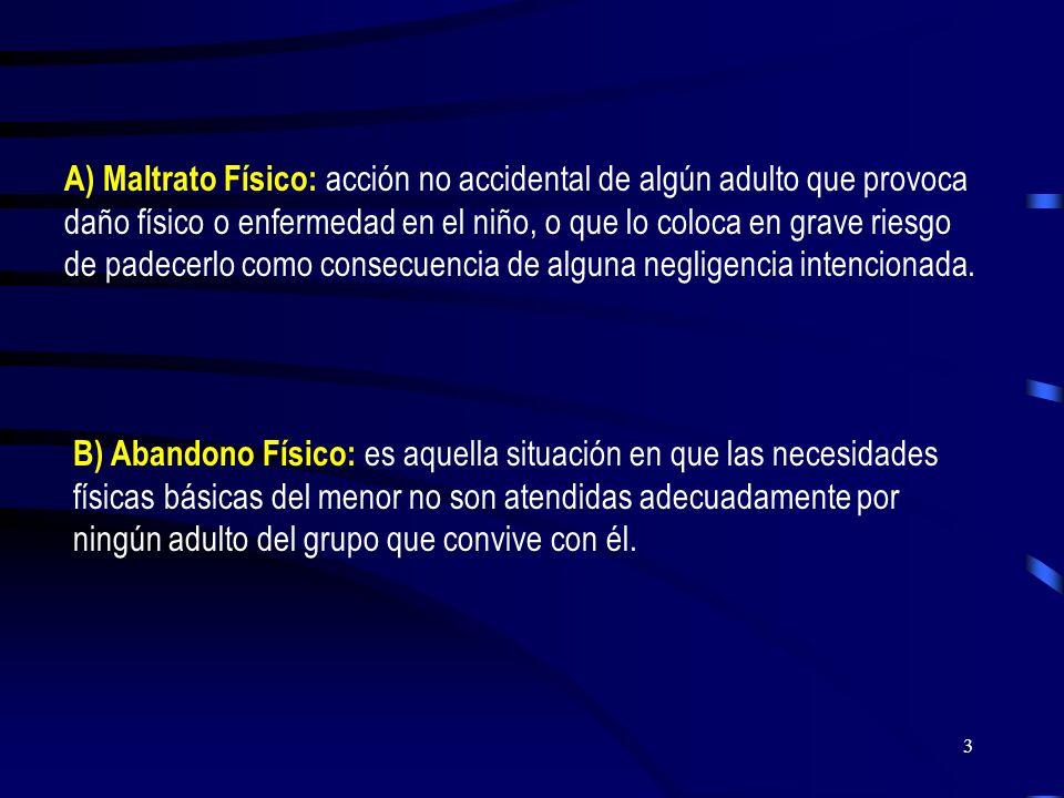A) Maltrato Físico: acción no accidental de algún adulto que provoca daño físico o enfermedad en el niño, o que lo coloca en grave riesgo de padecerlo como consecuencia de alguna negligencia intencionada.