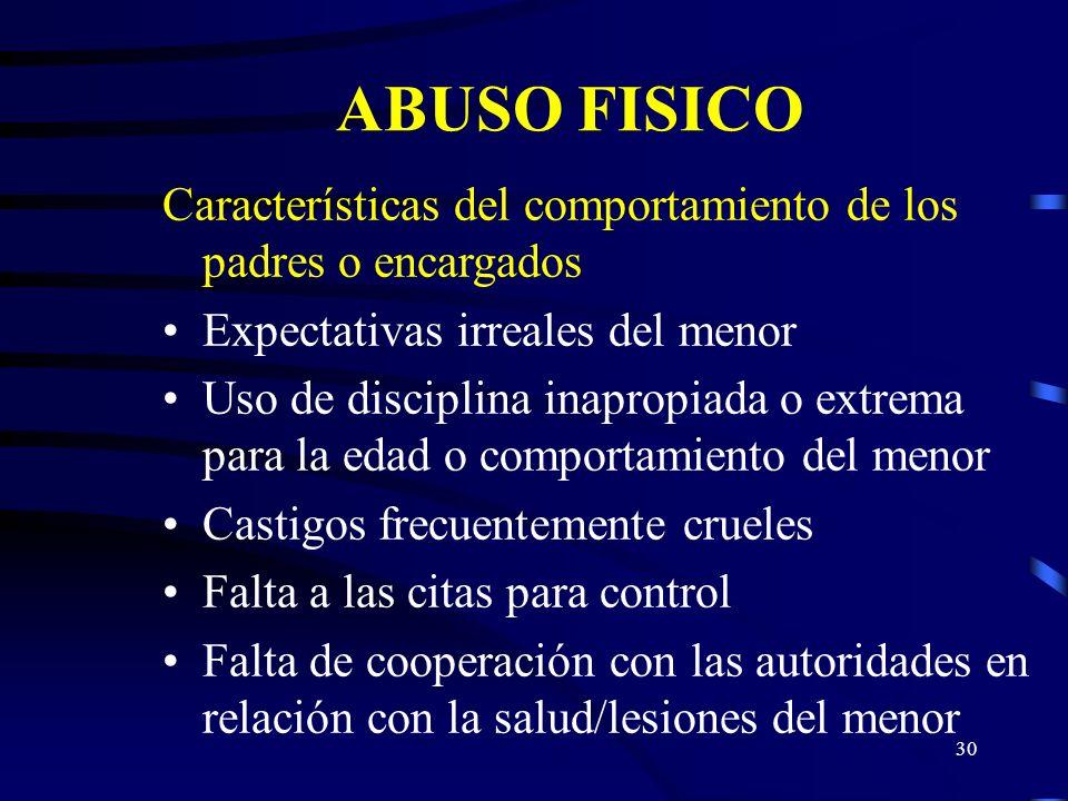 ABUSO FISICO Características del comportamiento de los padres o encargados. Expectativas irreales del menor.