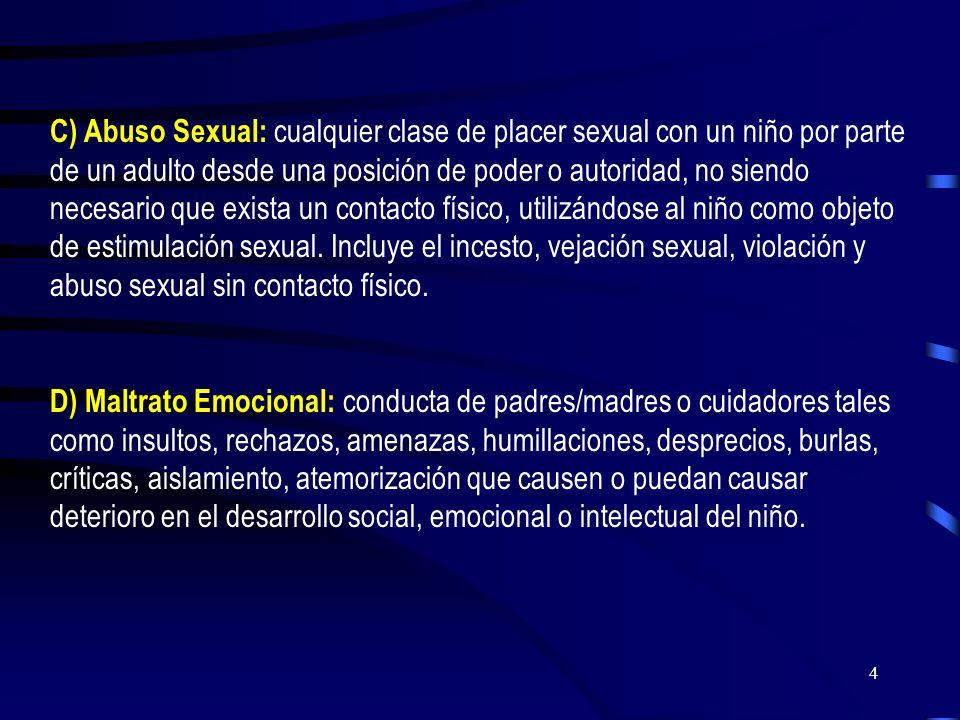 C) Abuso Sexual: cualquier clase de placer sexual con un niño por parte de un adulto desde una posición de poder o autoridad, no siendo necesario que exista un contacto físico, utilizándose al niño como objeto de estimulación sexual. Incluye el incesto, vejación sexual, violación y abuso sexual sin contacto físico.