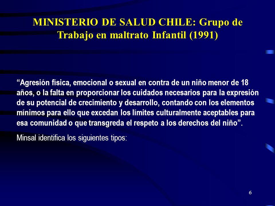 MINISTERIO DE SALUD CHILE: Grupo de Trabajo en maltrato Infantil (1991)