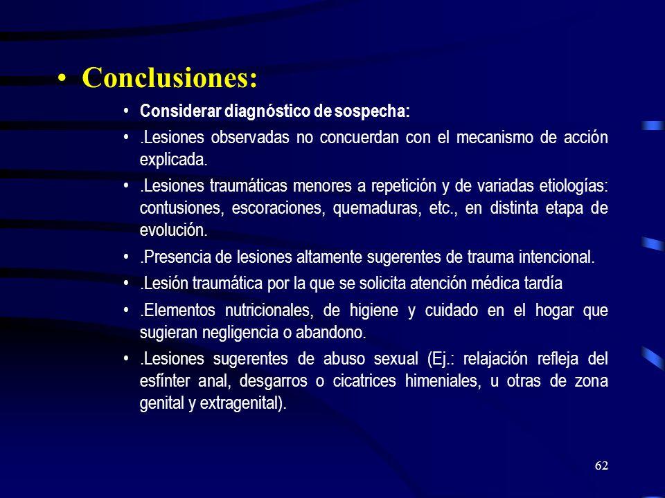 Conclusiones: Considerar diagnóstico de sospecha: