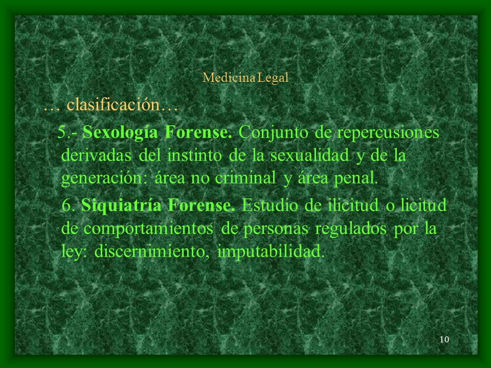 Medicina Legal … clasificación…