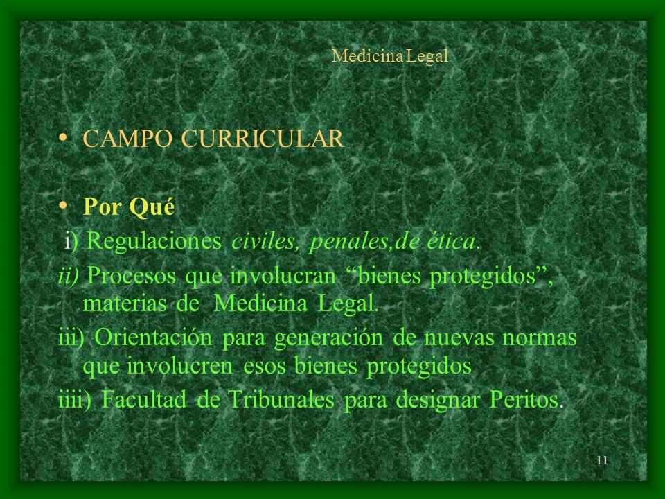 i) Regulaciones civiles, penales,de ética.