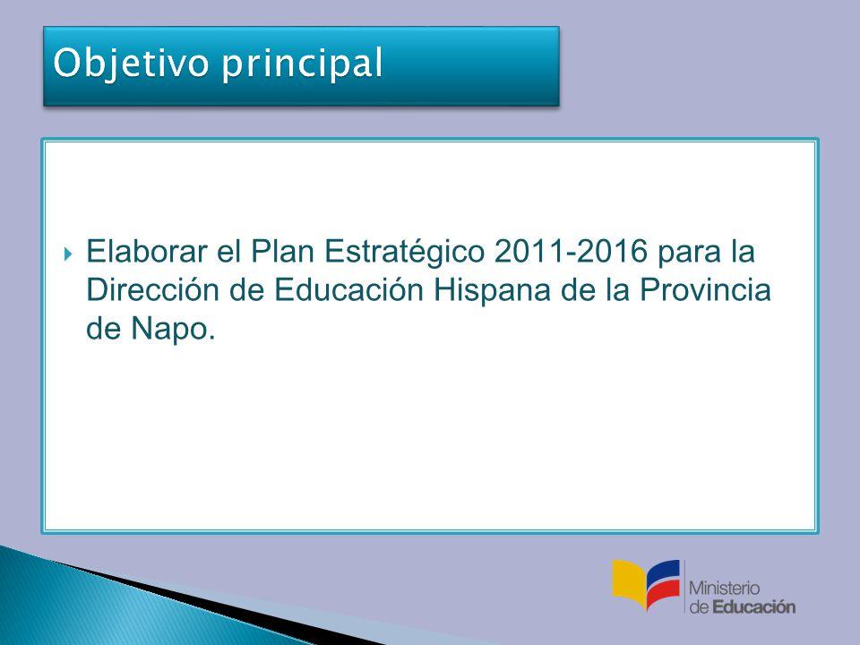 Objetivo principal Elaborar el Plan Estratégico 2011-2016 para la Dirección de Educación Hispana de la Provincia de Napo.