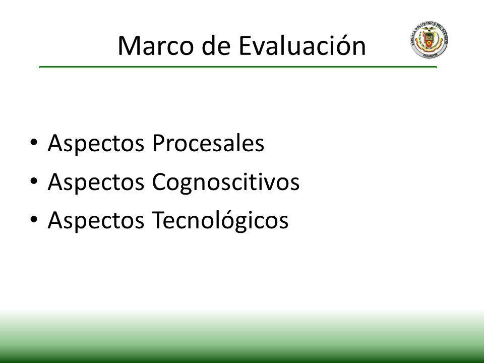 Marco de Evaluación Aspectos Procesales Aspectos Cognoscitivos