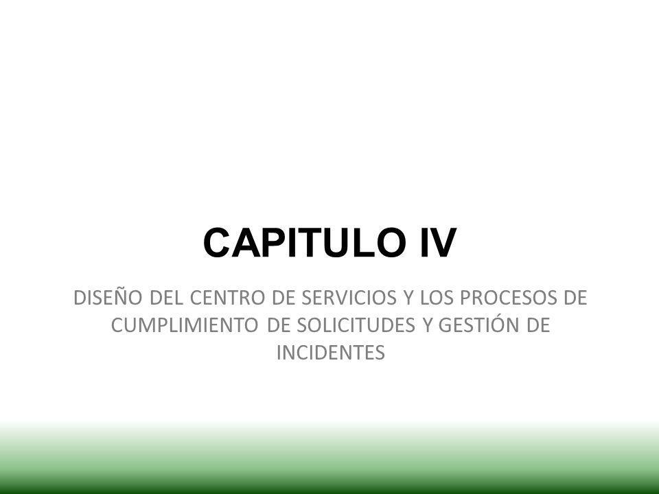 CAPITULO IV DISEÑO DEL CENTRO DE SERVICIOS Y LOS PROCESOS DE CUMPLIMIENTO DE SOLICITUDES Y GESTIÓN DE INCIDENTES.