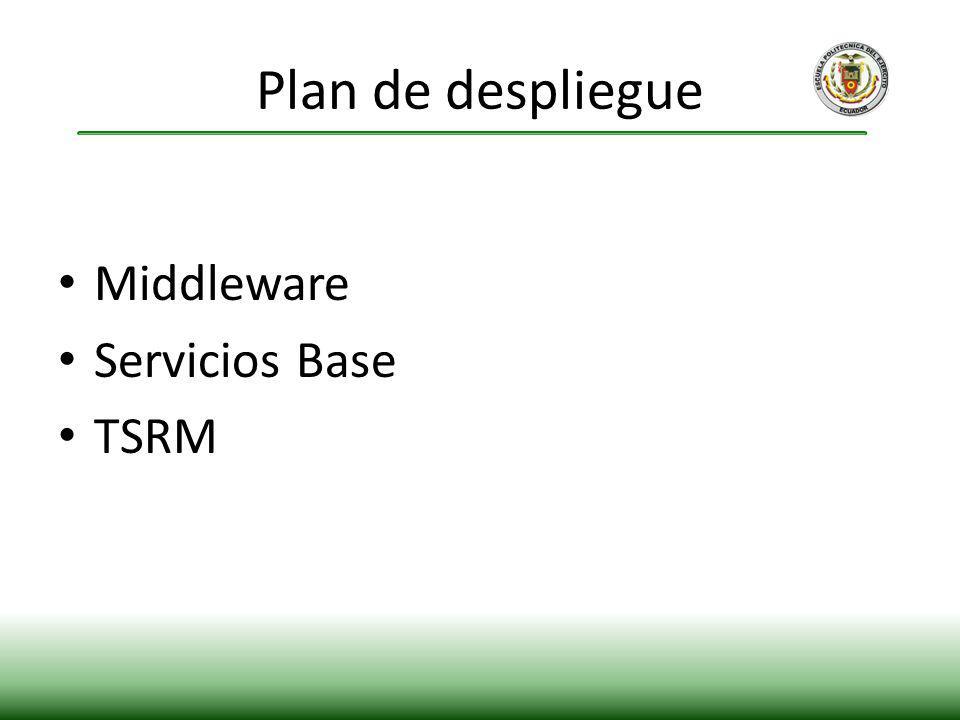 Plan de despliegue Middleware Servicios Base TSRM