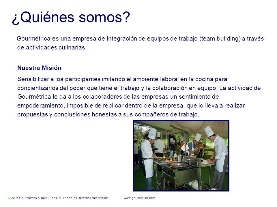 ¿Quiénes somos Gourmétrica es una empresa de integración de equipos de trabajo (team building) a través de actividades culinarias.