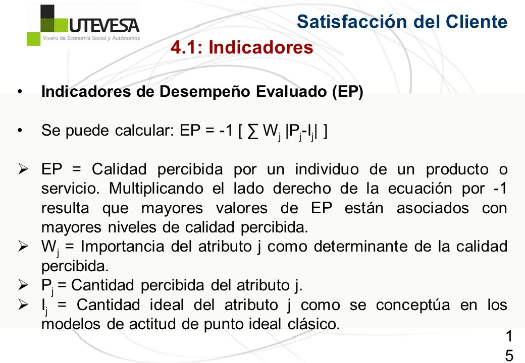 Satisfacción del Cliente 4.1: Indicadores
