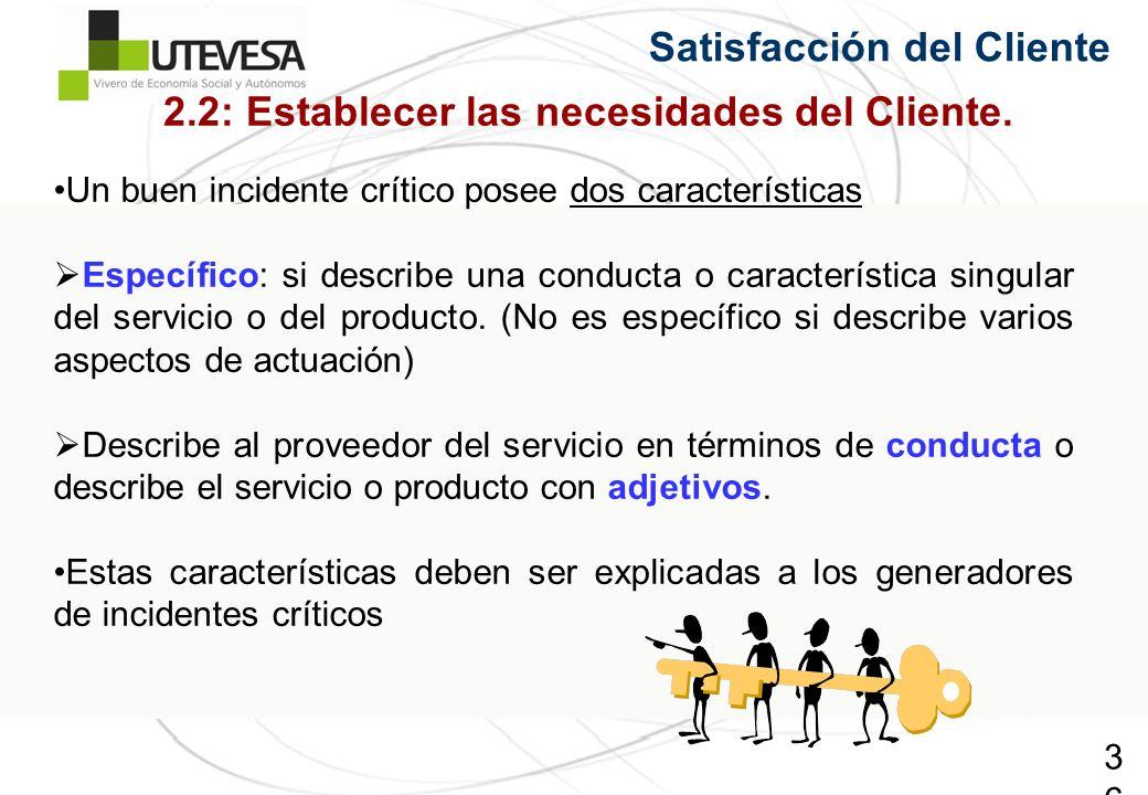2.2: Establecer las necesidades del Cliente.