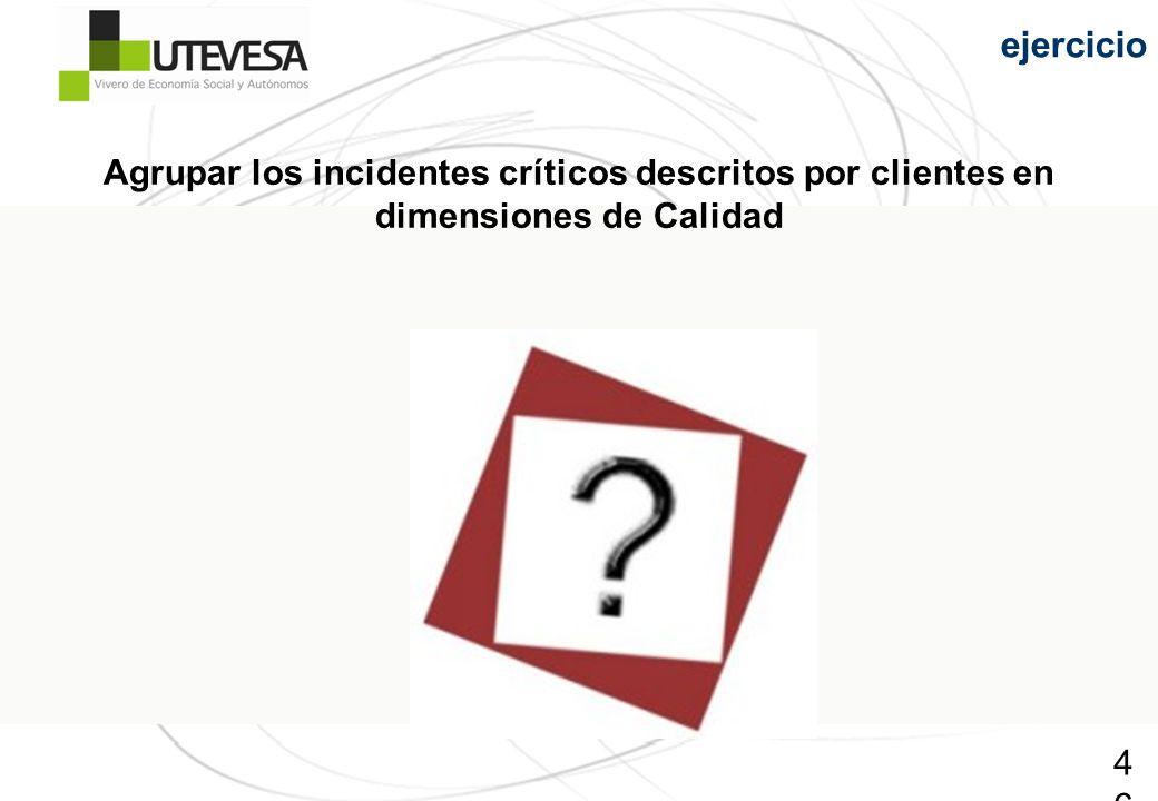 ejercicio Agrupar los incidentes críticos descritos por clientes en dimensiones de Calidad