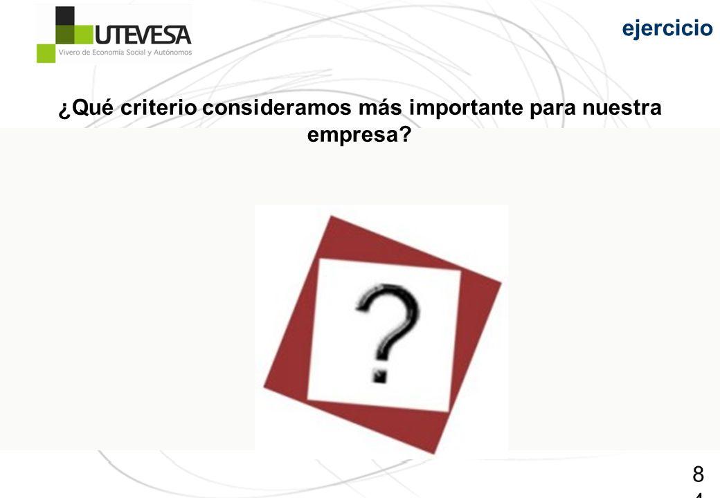 ¿Qué criterio consideramos más importante para nuestra empresa