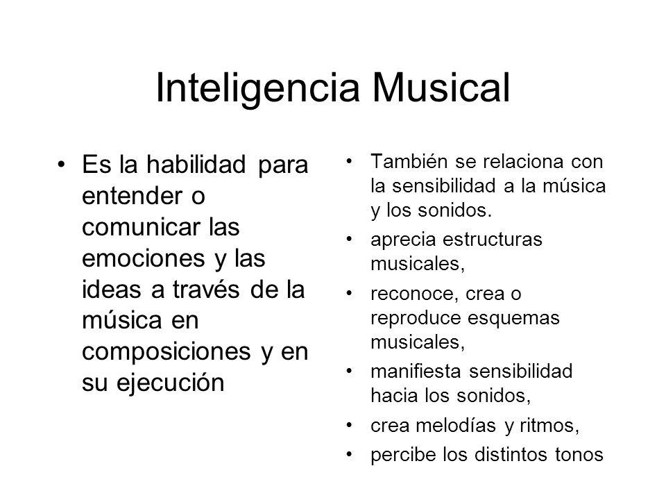 Inteligencia Musical Es la habilidad para entender o comunicar las emociones y las ideas a través de la música en composiciones y en su ejecución.