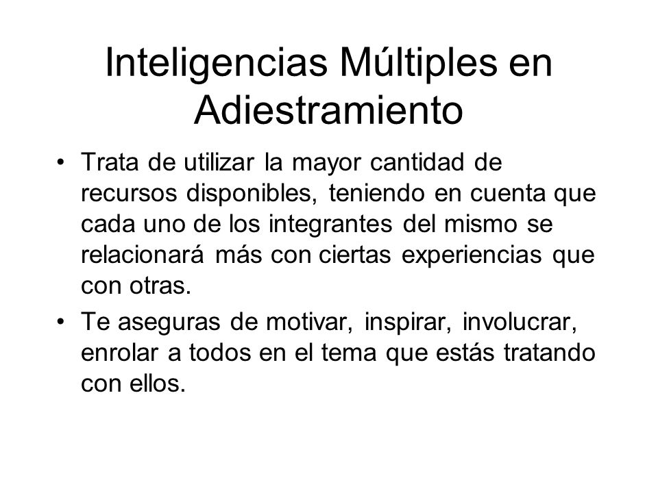 Inteligencias Múltiples en Adiestramiento