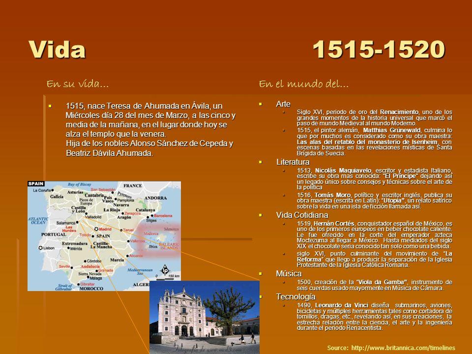 Vida 1515-1520 En su vida… En el mundo del…