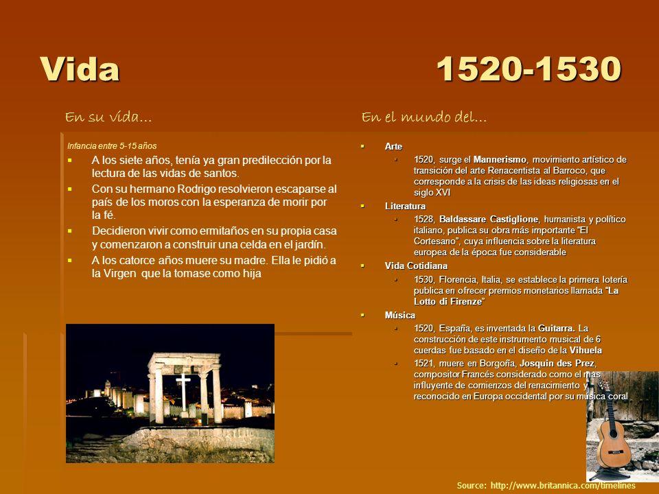 Vida 1520-1530 En su vida… En el mundo del…