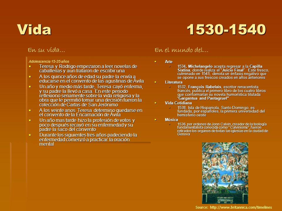 Vida 1530-1540 En su vida… En el mundo del…