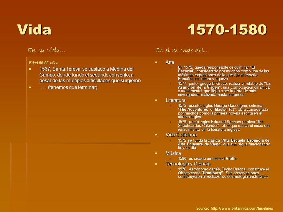 Vida 1570-1580 En su vida… En el mundo del… Arte