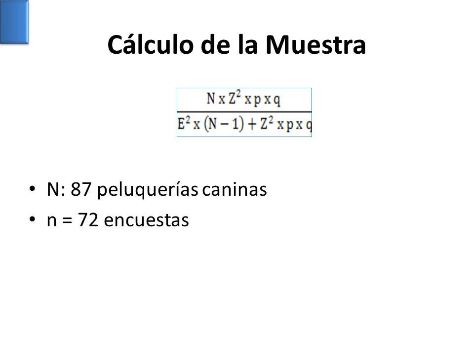 Cálculo de la Muestra N: 87 peluquerías caninas n = 72 encuestas