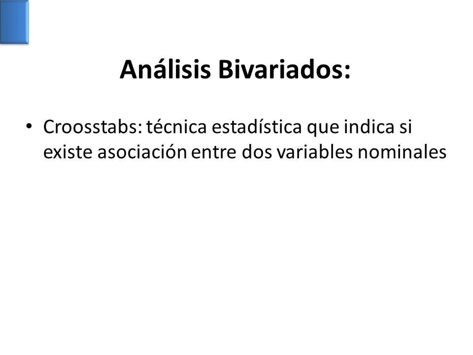 Análisis Bivariados: Croosstabs: técnica estadística que indica si existe asociación entre dos variables nominales.
