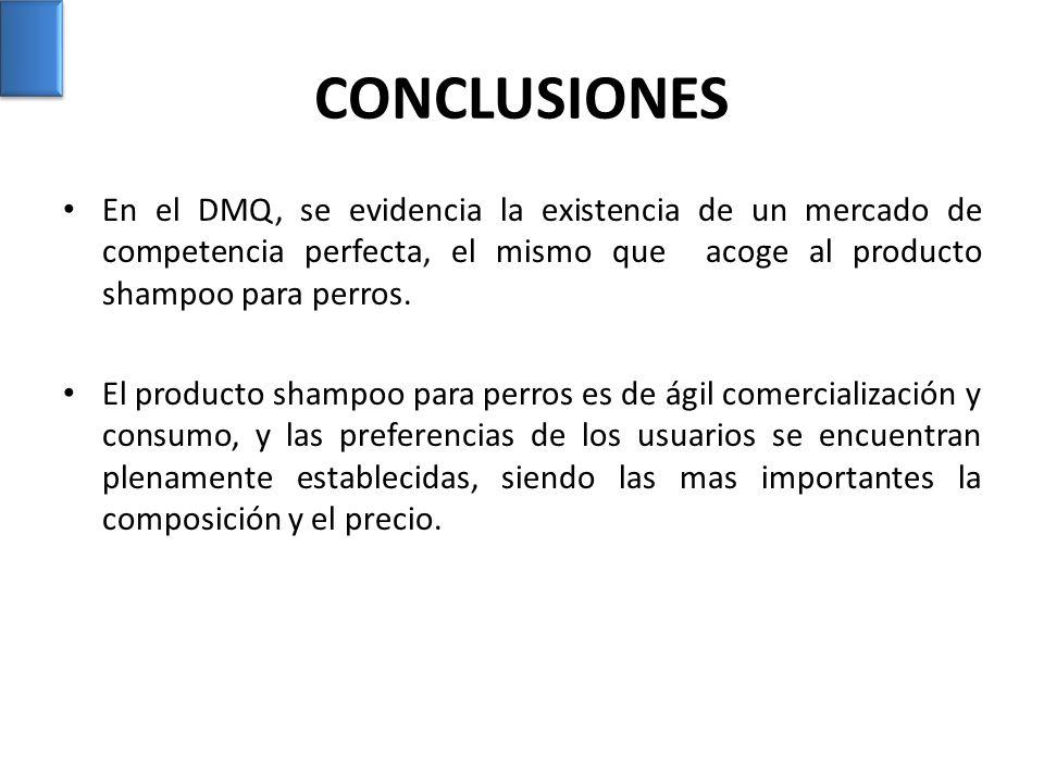 CONCLUSIONES En el DMQ, se evidencia la existencia de un mercado de competencia perfecta, el mismo que acoge al producto shampoo para perros.