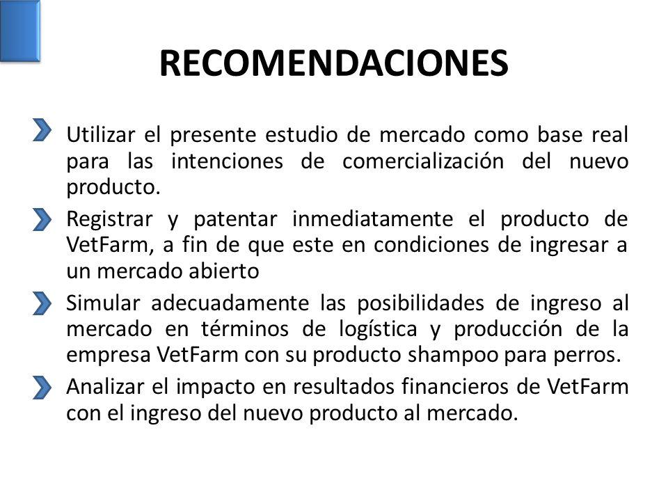 RECOMENDACIONES Utilizar el presente estudio de mercado como base real para las intenciones de comercialización del nuevo producto.