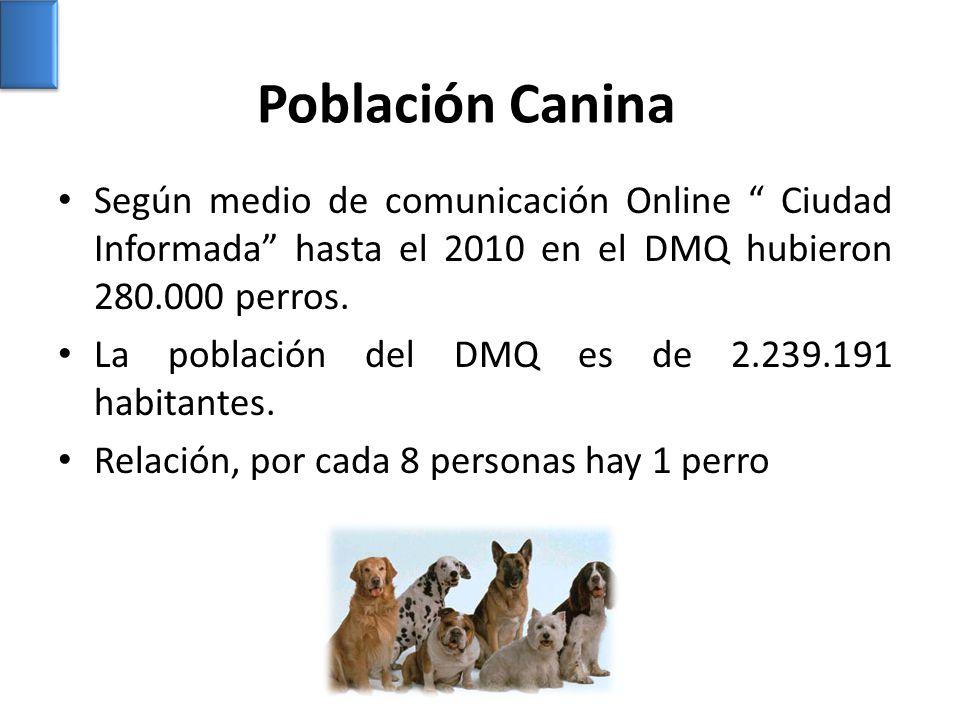Población Canina Según medio de comunicación Online Ciudad Informada hasta el 2010 en el DMQ hubieron 280.000 perros.