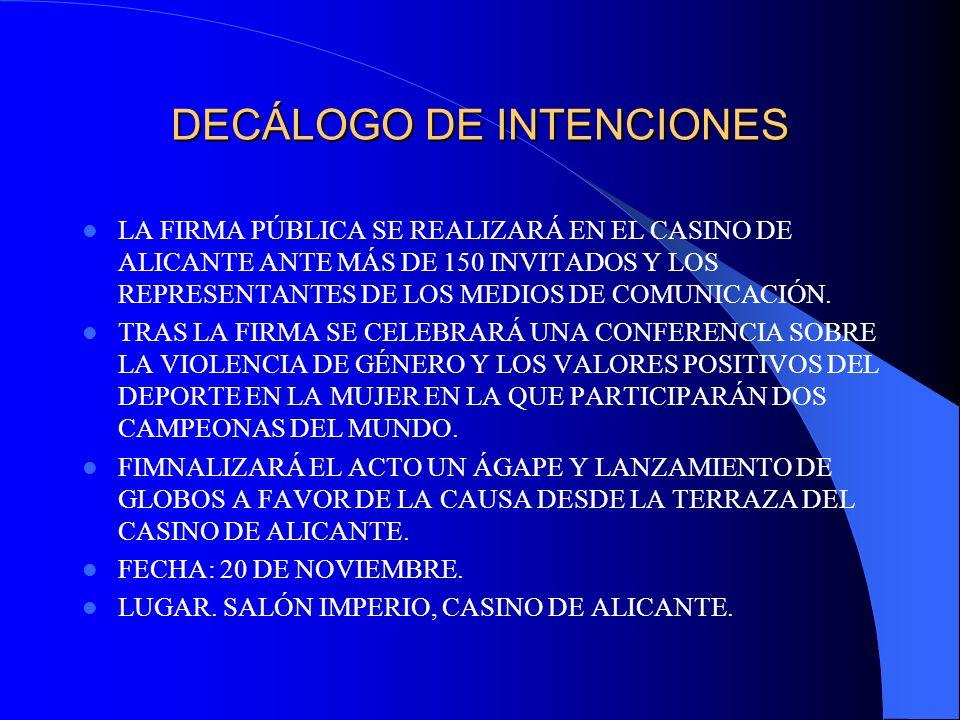 DECÁLOGO DE INTENCIONES