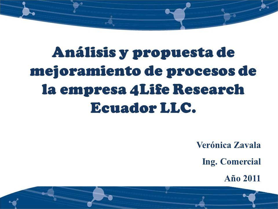 Análisis y propuesta de mejoramiento de procesos de la empresa 4Life Research Ecuador LLC.