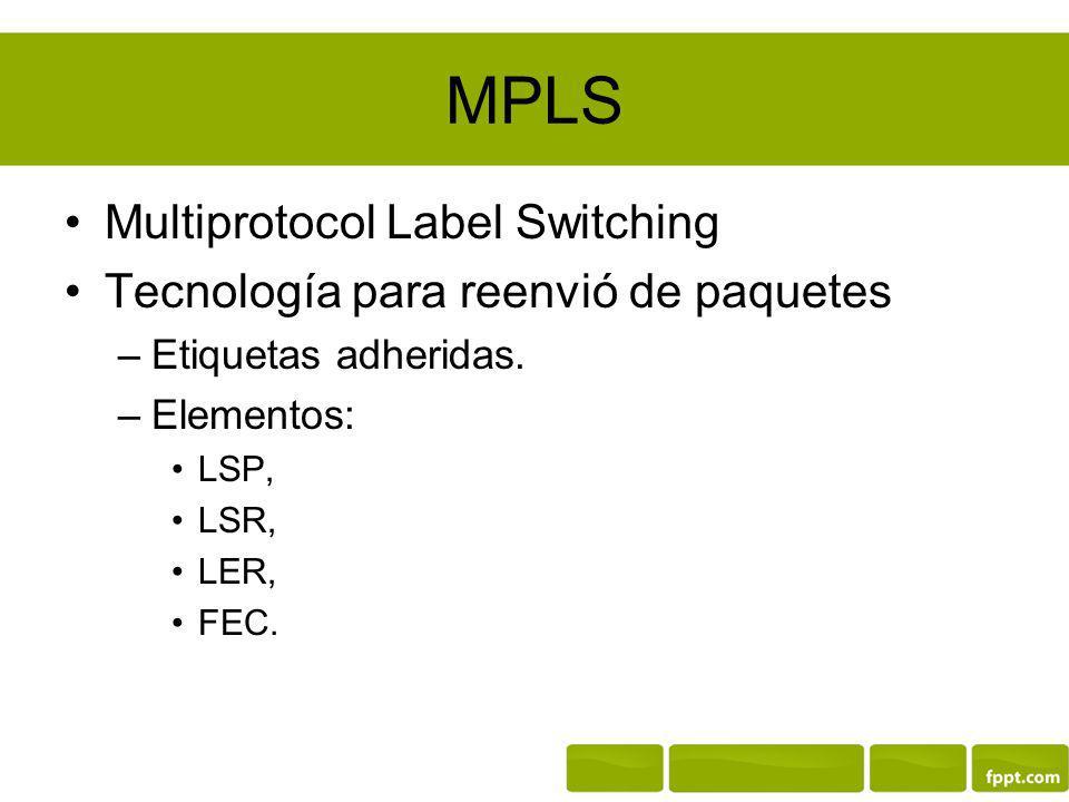 MPLS Multiprotocol Label Switching Tecnología para reenvió de paquetes