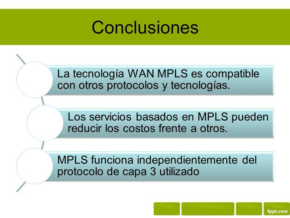 Conclusiones La tecnología WAN MPLS es compatible con otros protocolos y tecnologías.