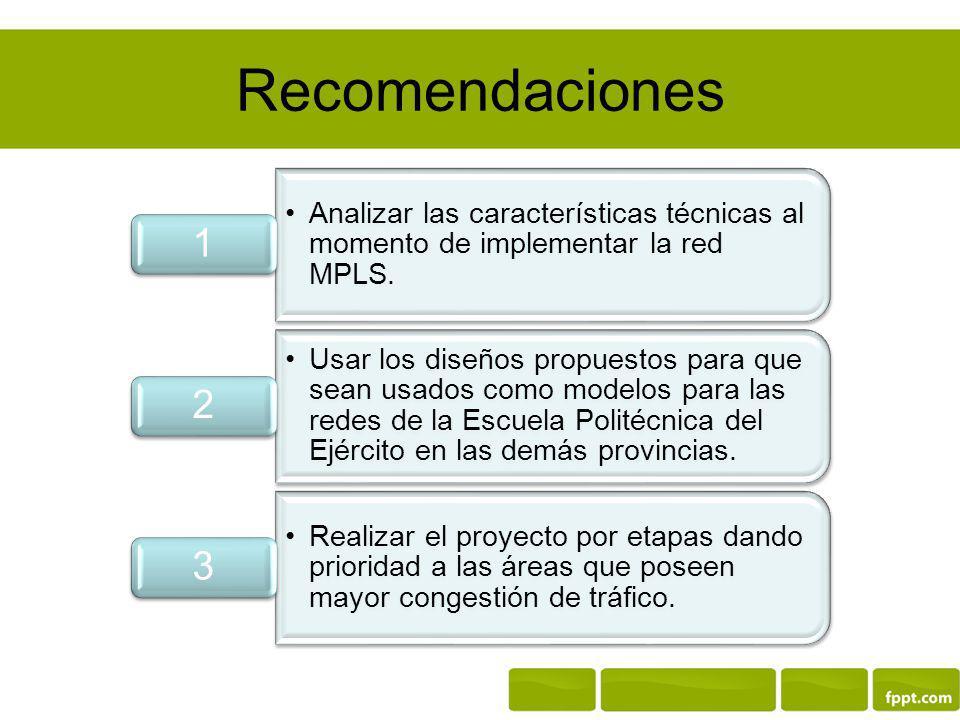 Recomendaciones Analizar las características técnicas al momento de implementar la red MPLS. 1.