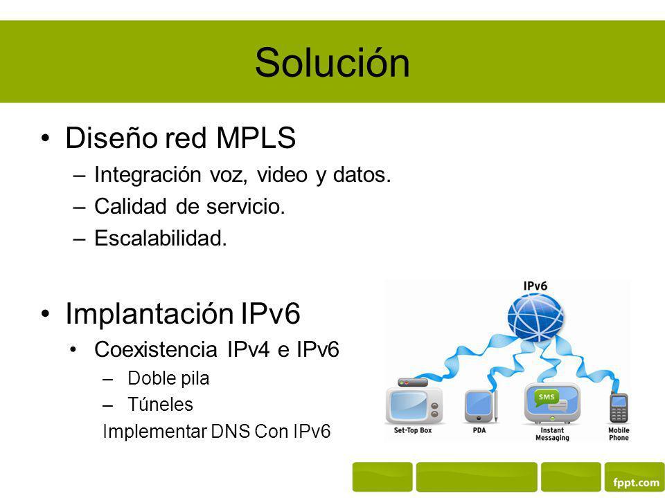 Solución Diseño red MPLS Implantación IPv6
