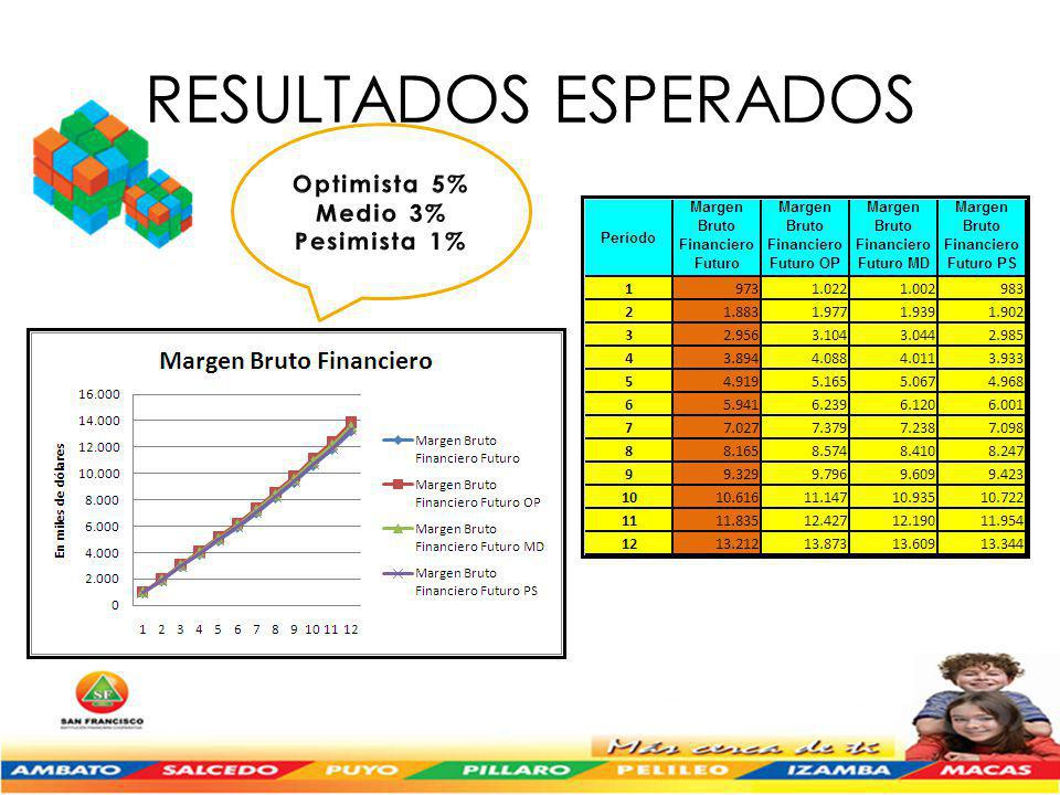 RESULTADOS ESPERADOS Optimista 5% Medio 3% Pesimista 1%