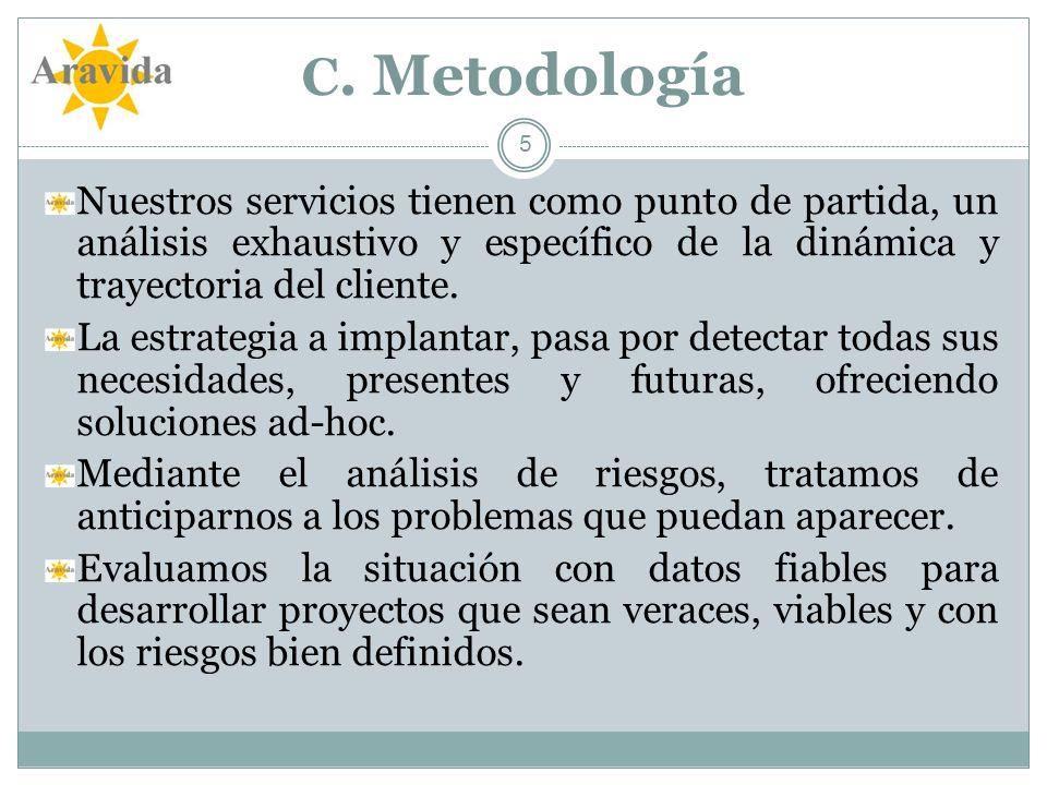 C. Metodología Nuestros servicios tienen como punto de partida, un análisis exhaustivo y específico de la dinámica y trayectoria del cliente.