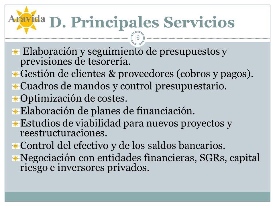 D. Principales Servicios