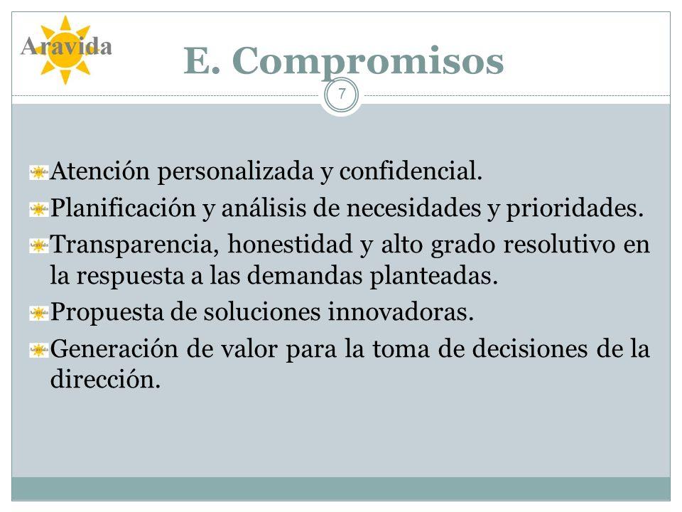 E. Compromisos Atención personalizada y confidencial.