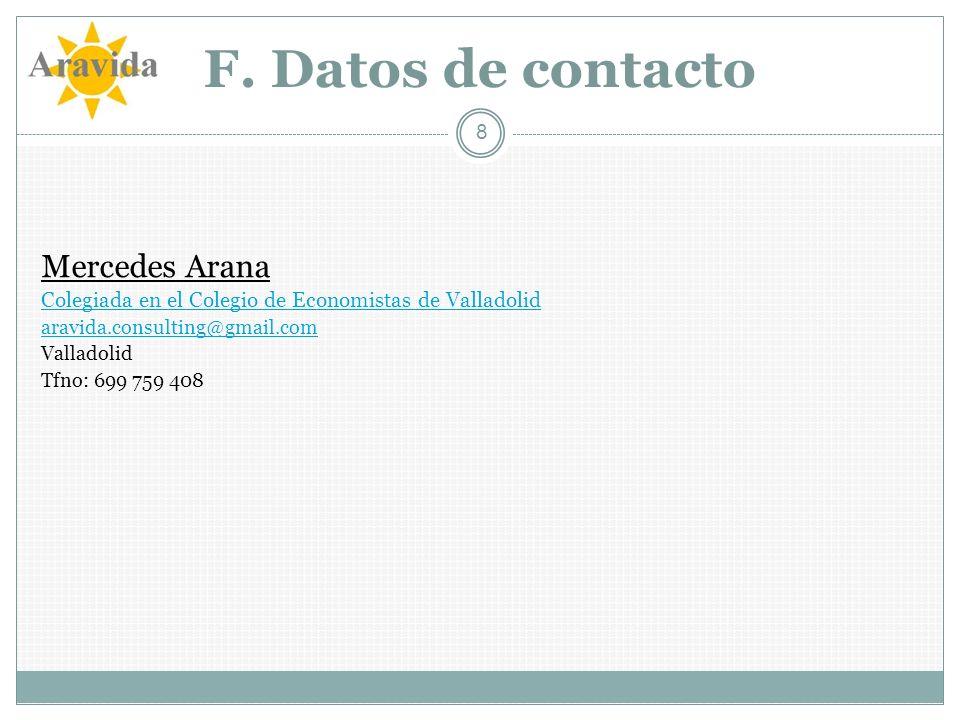 F. Datos de contacto Mercedes Arana