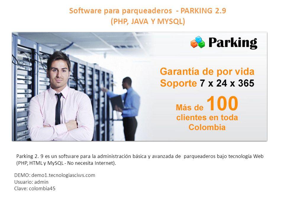 Software para parqueaderos - PARKING 2.9 (PHP, JAVA Y MYSQL)