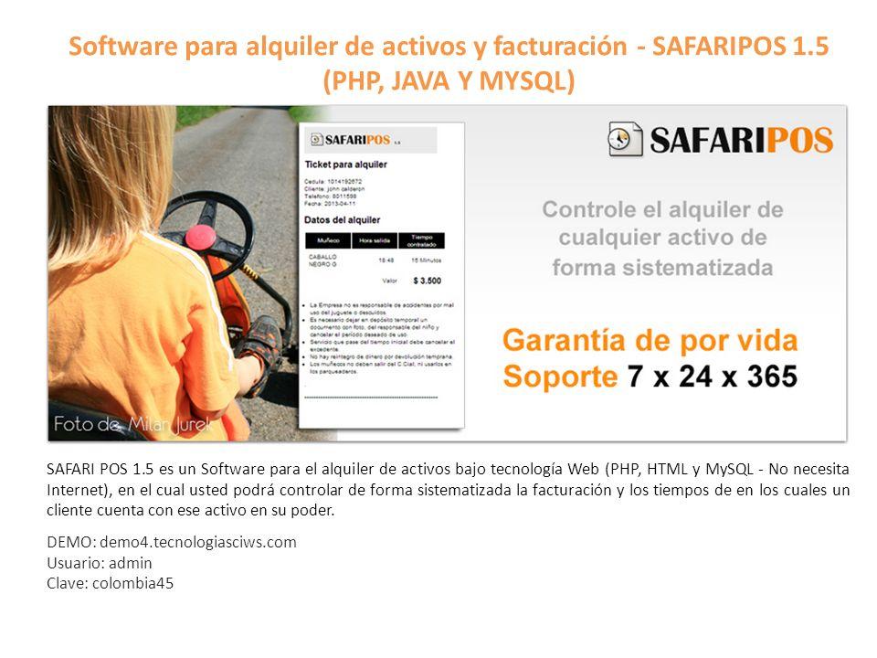Software para alquiler de activos y facturación - SAFARIPOS 1