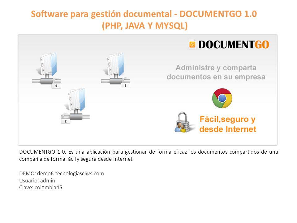 Software para gestión documental - DOCUMENTGO 1.0 (PHP, JAVA Y MYSQL)