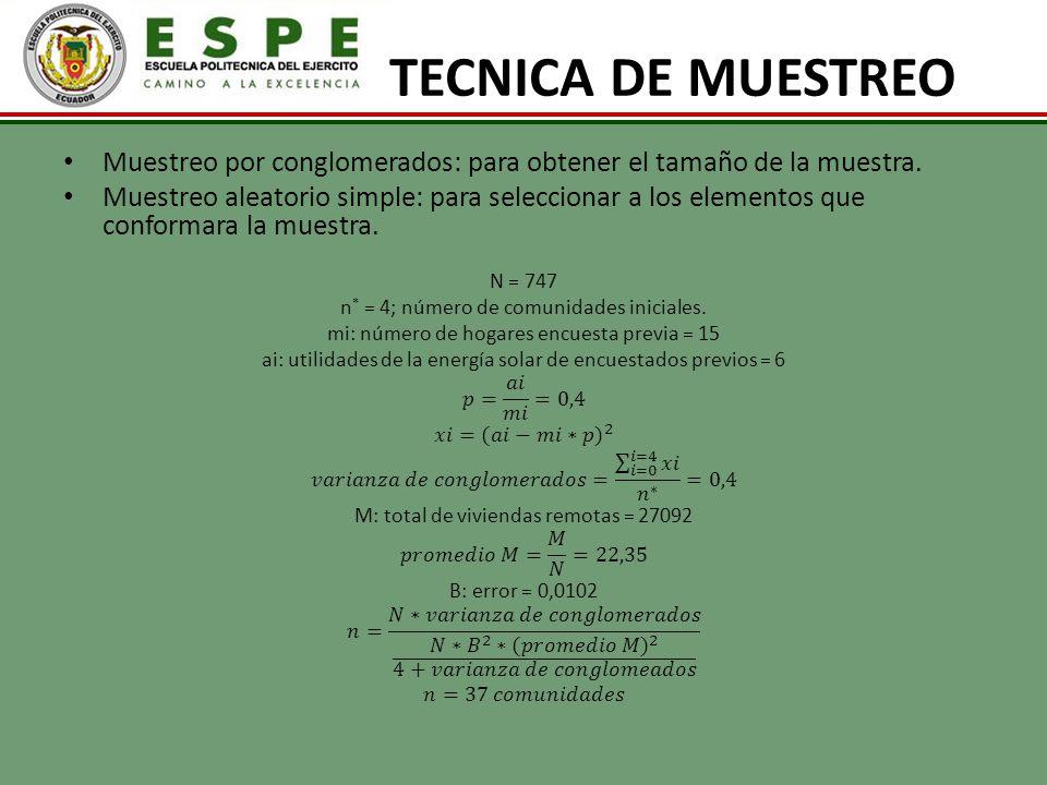 TECNICA DE MUESTREO Muestreo por conglomerados: para obtener el tamaño de la muestra.