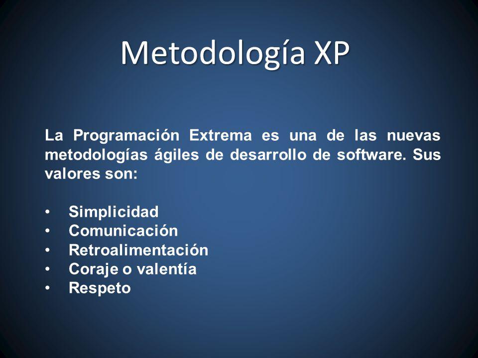 Metodología XP La Programación Extrema es una de las nuevas metodologías ágiles de desarrollo de software. Sus valores son: