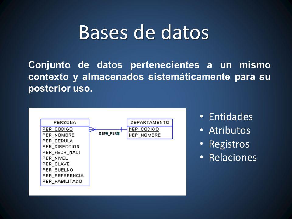 Bases de datos Entidades Atributos Registros Relaciones