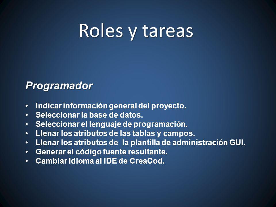 Roles y tareas Programador Indicar información general del proyecto.