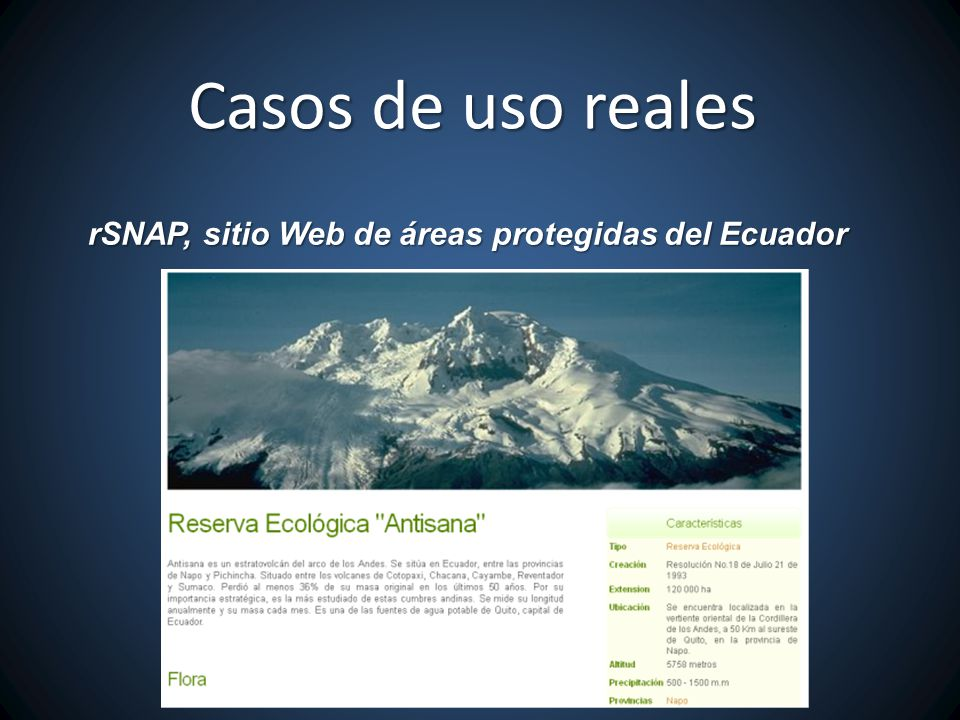 Casos de uso reales rSNAP, sitio Web de áreas protegidas del Ecuador