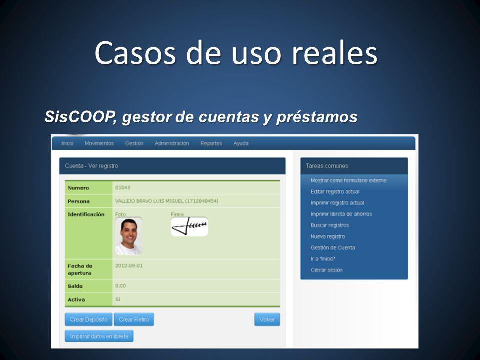 Casos de uso reales SisCOOP, gestor de cuentas y préstamos
