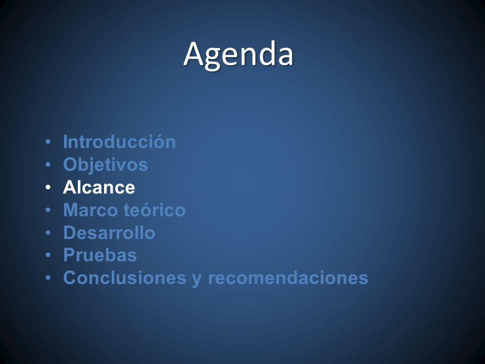 Agenda Introducción Objetivos Alcance Marco teórico Desarrollo Pruebas