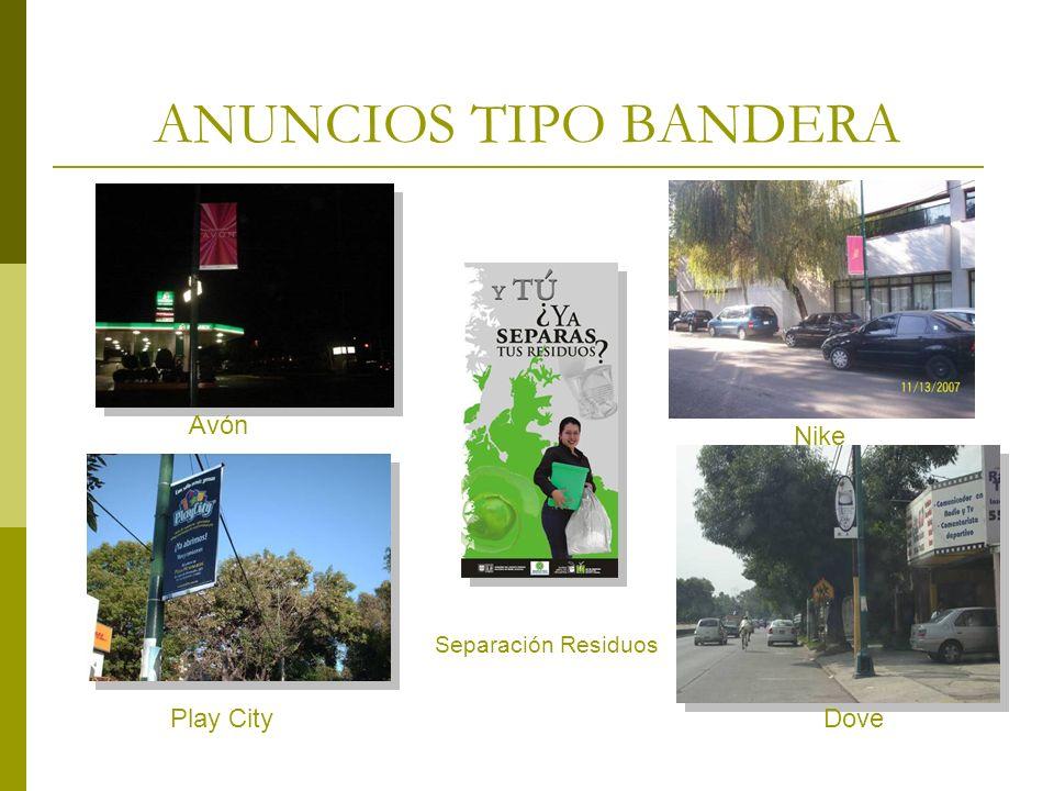 ANUNCIOS TIPO BANDERA Avón. Nike. Separación Residuos.